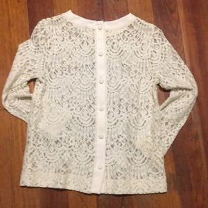 Banana Republic Tops - Lace long sleeve button up on back new